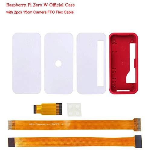 MakerHawk Raspberry Pi Zero W Fall Neu, RPI Zero ABS Box Cover Shell-Gehäuse (einfach, für GPIO und Kamera) Kompatibel für Raspberry Pi Zero V1.3 Pi0 mit 2 Stück 15cm Kamera-FFC-Flexkabel -