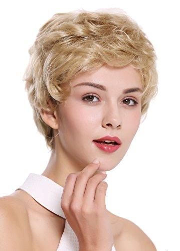 WIG ME UP - NG-HH-13-22 Perücke Damen Herren Echthaar kurz wellig modisch blond