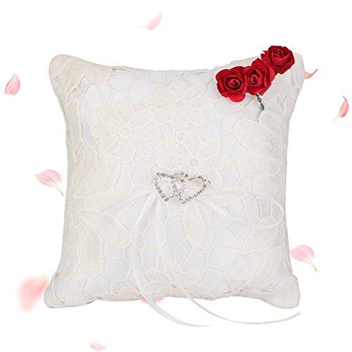 Atyhao Satin Flower Lace Rose Hochzeit Ringkissen Party Ring Bearer Kissen Ring Halter Weiß(15 * 15cm) -