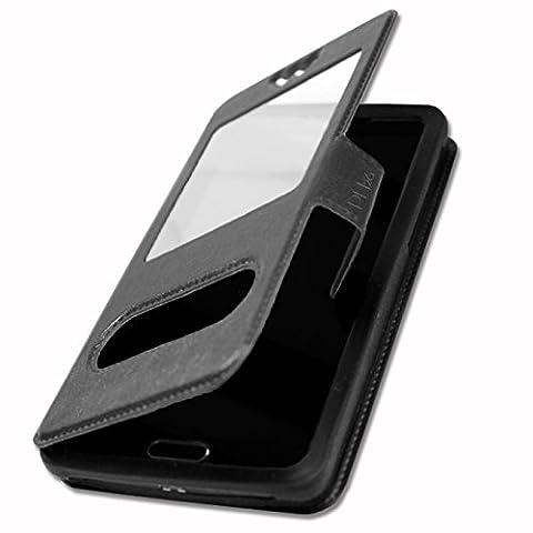 Archos 50 Platinum 4G Etui housse coque noir à fenêtres de qualité by PH26®