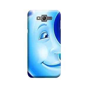 Desicase Samsung Grand Prime Smiley Moon 3D Matte Finishing Printed Designer Hard Back Case Cover (Blue)