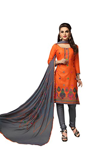 Oomph! Cotton Embroidered Salwar Suit Dupatta Dress Material - Fire Orange