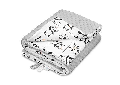 elimeli Minky Baby manta para gatear | Super Suave Minky Dots Forro Polar, algodón, relleno, 75x 100alta calidad gris Grey - Pandas
