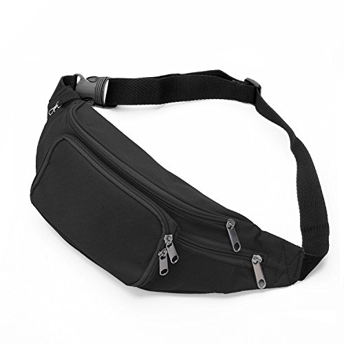 41llo8N9eCL. SS500  - SAVFY Bum Waist Bag 4 Zip Pockets Travel Hiking Outdoor Sport Bum Bag Holiday Money Hip Pouch