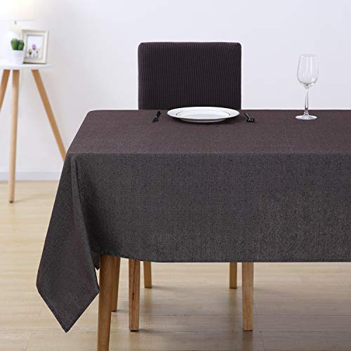Deconovo Tischdecke Wasserabweisend Tischwäsche Lotuseffekt Tischtücher 130x220 cm Braun