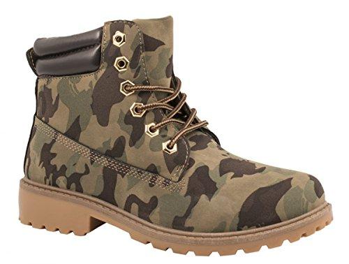 Elara Damen Worker Boots | Bequeme Warm Gefütterte Schnürrer | Outdoor Stiefeletten Berlin Militaire
