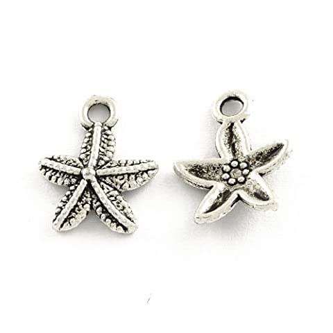 Packet of 50+ Antique Silver Tibetan 16mm Charms Pendants (Starfish) - (ZX16000) - Charming Beads