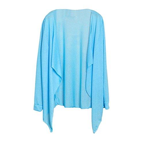 Feixiang camicia shirt donna, donne estate lungo cardigan sottile modale protezione solare abbigliamento top-misto cotone (i)