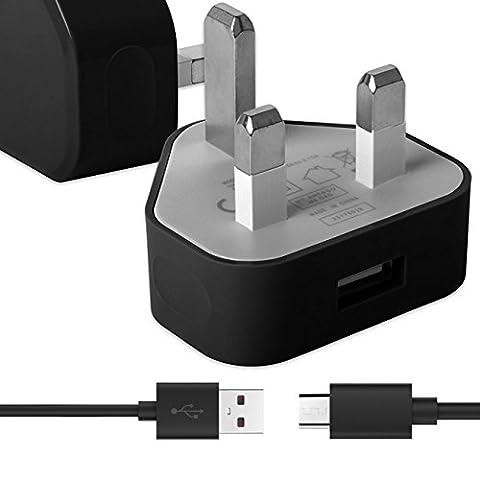 Schwarz Dünner USB 2.0 Micro USB MicroUSB SYNC & CHARGE Verbinden Sie das Ladegerät Tangle Proof Cable (1.1 Meter) mit UK 3 Pin 1000 mAh Netzteilstecker für Huawei Ascend Mate 2 4g