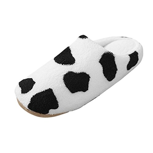 Cute Cow Slip-On Slippers Parents-Child Winter Thermal Soft Coral Fleece Antiskid Indoor...