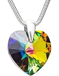 LillyMarie Femme Argent Collier Vrai Swarovski Elements Originaux Cœur Multicolore Longueur Réglable Boîte Cadeau Pour la Saint Valentin