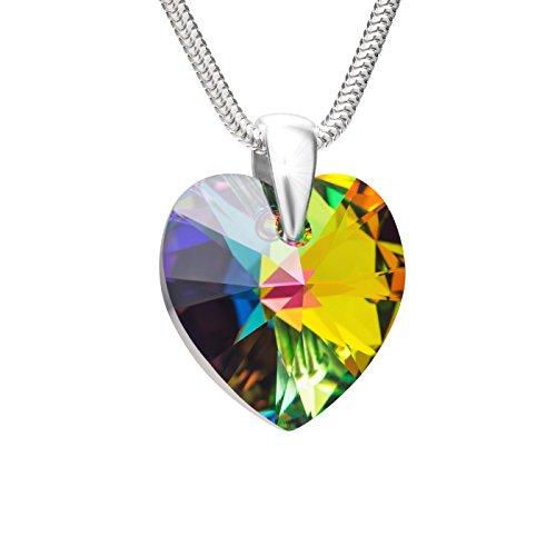 berkette Silber 925 Original Swarovski Elements Herz Mehrfarbig Längen-verstellbar Geschenkbox Geschenkidee Beste Freundin ()