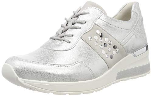 Waldläufer Damen H-Clara Sneaker Silber (Bufa Nubuk Silber Cement 789), 39 EU