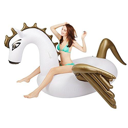 CHENGYI Schwimmendes Bett, Schwimmen-aufblasbare aufblasbare Pegasus-Einhorn-sich hin- und herbewegende Bett-Hin- und Herbewegungs-Reihen-Montierungen 250 * 250 * 130cm, mit manueller Luftpumpe