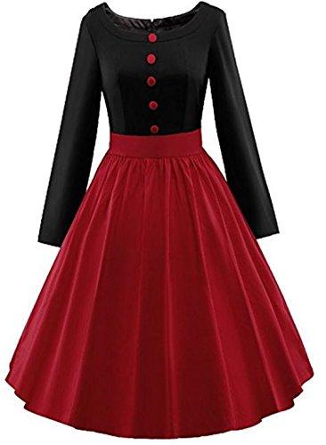 YOGLY Damen Kleide Modisch 50s 60s Langarm Knielang VintageKleid Abendkleider Cocktailkleider...