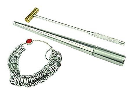 Proops Ringmaß-Set, Ringriegel aus massivem Stahl mit Markierungen A-Z 1-6, Proberinge + Messing-Hammer, J1237