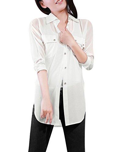 allegra-k-ladies-point-collar-button-down-loose-chiffon-shirt-s-white