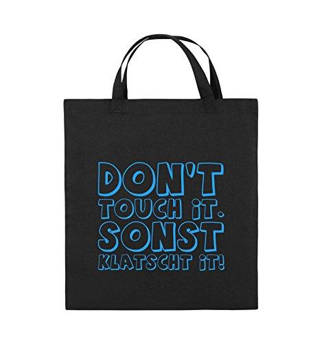 Comedy Bags - DON'T TOUCH IT - KLATSCHT - Jutebeutel - kurze Henkel - 38x42cm - Farbe: Schwarz / Pink Schwarz / Blau