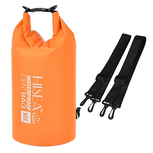 hisea-orange-10l-dry-bag-waterproof-roll-top-sack-with-adjustable-straps-for-beach-hiking-kayak-fish