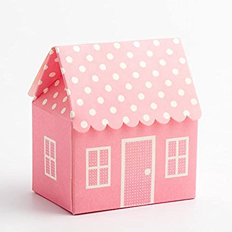 Favour Boxes Pink Polka Dot House shape, Pack of 10 for Baby Shower, christenings, baby announcement