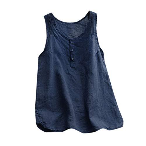 Longras T-Shirt Tank Top für Damen Casual Plus Größe Leinen Tops T Vintage Solide Sleeveless Lose Weste Bluse Sommertop Oberteil Beach Top Lässige Bluse Sommer Tank Top Oberteil Bluse -