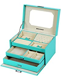 Songmics Caja joyero Organizador para bisuterías de 3 niveles PU 26 x 18 x 16 cm 218L