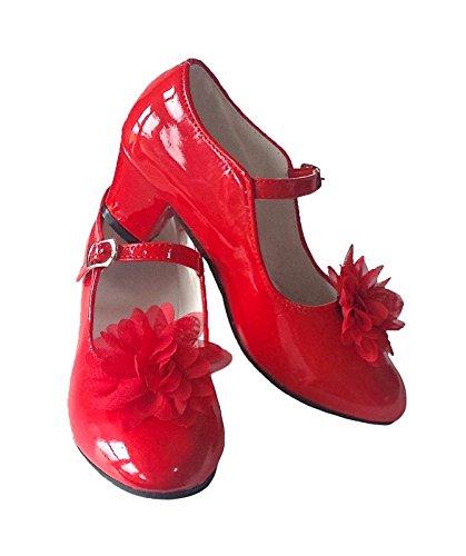 e Flamenco Schuhe - Rot Lack Blume + gratis Haarreifen - Größe 30 - Innenmaß 20 cm (Rote Blumen-mädchen-schuhe)