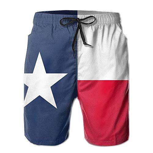 WSTREE Men's Texas State Flag Quick Dry Summer Beach Surfing Board Shorts Swim Trunks Cargo Shorts XL -