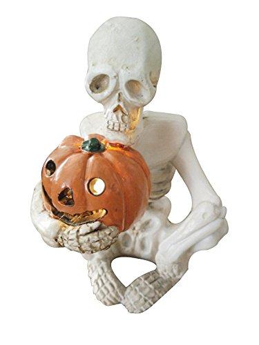 eastyle Realistische Skelett Totenkopf Statue mit pumking Licht für Halloween Dekoration Lichter Skulls