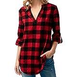 TianWlio Langarmshirt Damen T-Shirt Damen Langarmshirt Frauen Langarm T-Shirt Gitter Tops Gedruckt V-Ausschnitt Oberteile Beiläufig Tops Shirt Bluse T-Shirt