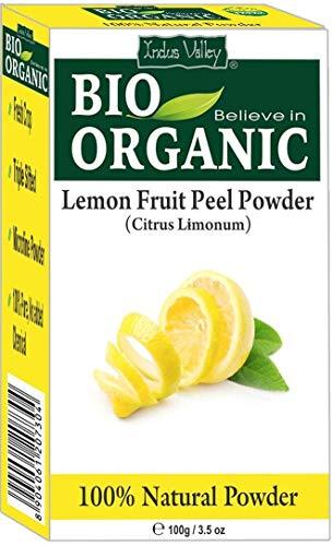 Polvo orgánico puro de la cáscara de la fruta del limón