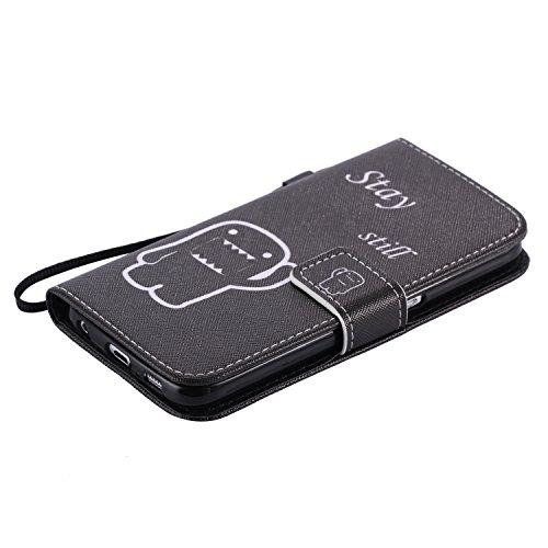 Coque pour Samsung Galaxy S6, Etui pour Samsung Galaxy S6, ISAKEN Peinture Style PU Cuir Flip Magnétique Portefeuille Etui Housse de Protection Coque Étui Case Cover avec Portable Dragonne Stand Suppo Rester Immobile