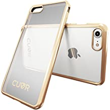 iPhone 8 Case by Cuvr | Clear Back Gel Cover Also fits iPhone 7 with Flexible Metallic Bumper (Gold)