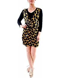 e2b2fefd80d ANA ALCAZAR Women s Elegant 3 4 Sleeve Mini Dress Gold Black Size 36