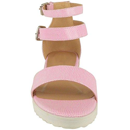 Scarpe donna piatto goffi sandali Plateau scarpe., nuovo ROSA PASTELLO LIZARD