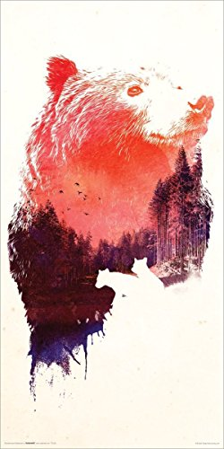 Robert Farkas Red Bear Forest Collage Modern Contemporary Animal Decorative Art Poster Print 12x24