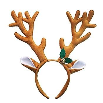 0d005280d0ff1 dragonaur Christmas Hat Deer Antlers Headband Kids Adults Xmas Party  Headwear Hair Band size Brown (Brown)