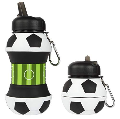 Fringoo Silikon Faltbare Trinkflasche für Kinder 500ml / 17oz mit Karabiner Clip Auslaufsicher BPA-frei Reise Sport Trinkflasche, Kinder, fußball, 550 ml - 19 oz