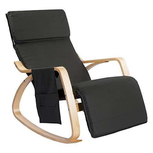 Woltu sks02gr sedia sdraio imbottita poltrona a dondolo poltroncina relax con schienale braccioli stoffa lino legno grigio