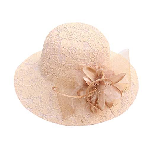 Barlingrock Hats Sun Hat Frauen Sommer Damen Party Hochzeit Kirche UV-Schutz (Stroh-hut Krempe Flachen)