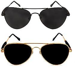Criba Combo Of 2 Black (Black) Golden (Black) Unisex Modish & Elegant Sunglasses_ aviator funky blk blk+gldn blk_CRLK16