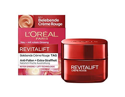 Loreal Anti-falten (L'Oréal Paris belebende Feuchtigkeitscreme mit Glow Effekt, für müde Haut und müde Augen, Revitalift Crème Rouge, 50 ml)