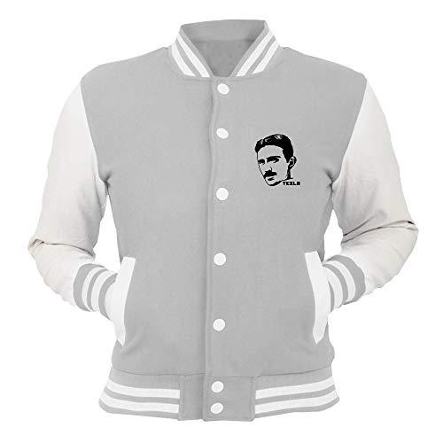 T-Shirtshock College-Jacke Grau FUN2606 Nikola Tesla Cap Sleeve
