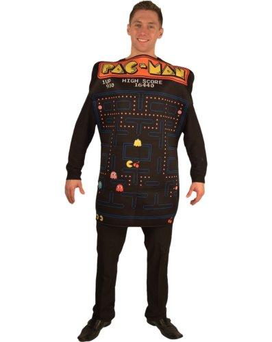 InCogneato 211890 Pac-Man Spiel Screen Video Poncho Kost-m - Schwarz - One-Size (Pac Man Kostüm Für Erwachsene)