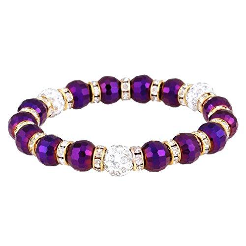 Morella Damen Armband mit facettierten Glasperlen und Zirkonia Beads elastisch