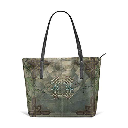 Cocoal-ltd Wunderbare dekorative Schultertasche aus Leder, keltischer Knoten, große Geldbörse, tragbare Aufbewahrung, Handtaschen, praktische Einkaufstasche