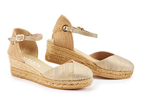 VISCATA Pubol 5,1 cm Keil, Knöchelriemen, geschlossene Zehe, Klassische Espadrilles-Ferse, Gold (Gold), 42 EU - Schuhe Sandalen Stoff Keil Damen