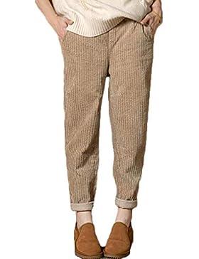 junkai Pantalones Largos para Mujeres Pantalones De Pana Multibolsillos Pantalones De Cintura Alta Pantalones...