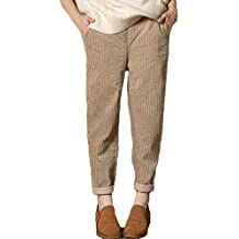 aba49e92d87c Pantalon Long Femme Taille élastique Roll Up Pantalon en Velours côtelé  Pantalon Taille Haute Solide lâche