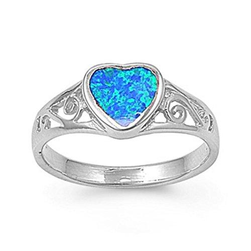 Ring aus Sterlingsilber mit Lab Opal - Herz (Ring Männer Stein Für 14k Gold Blau)